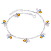 Crystal Bead 2.3mm Figaro Link Chain Italy Charm Anklet in .925 Sterling Silver - CLA-CHARM72-SLP