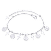 Angel & Cross Charm 3mm Bead 1.3mm Anchor Chain Italy 925 Sterling Silver Anklet - CLA-CHARM73-SLP