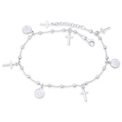 Cross & Angel Charm 3mm Bead 1.3mm Rolo Chain Italy .925 Sterling Silver Anklet - CLA-CHARM74-SLP
