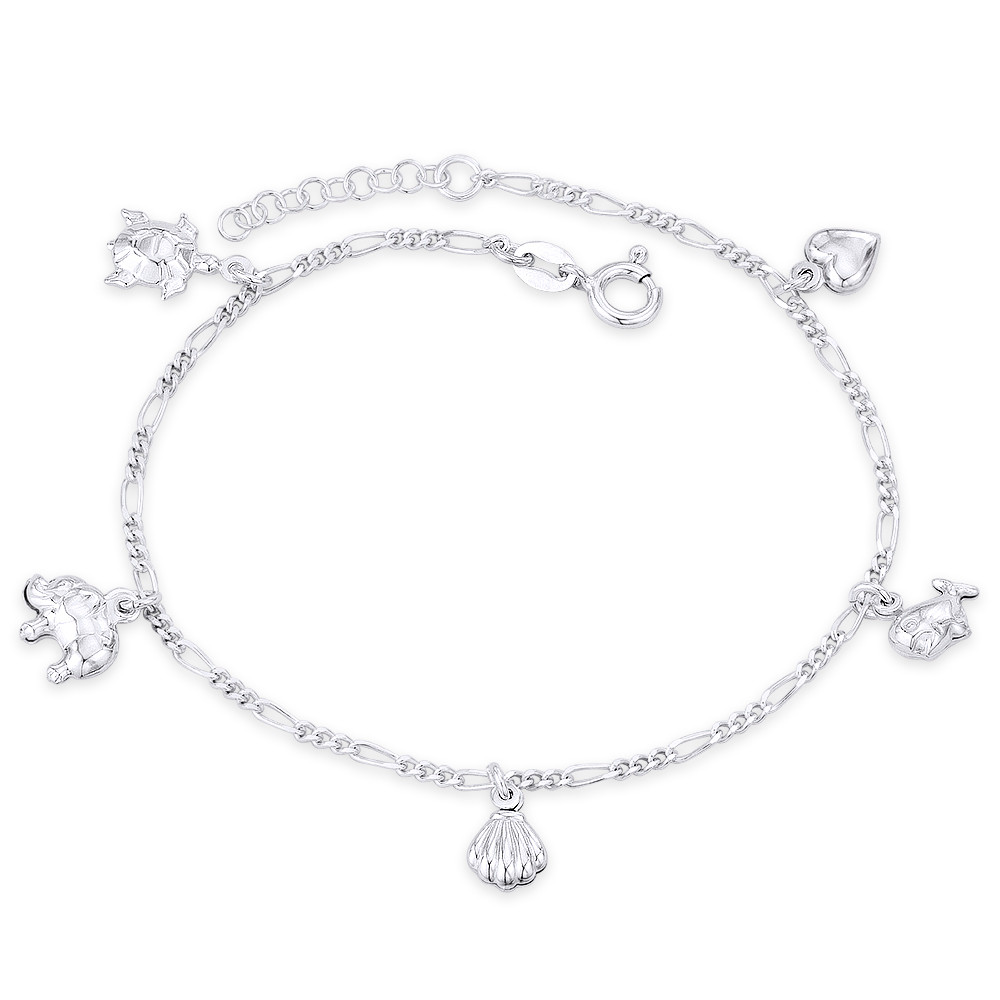 Sterling Silver Hearts Figaro Chain Anklet Bracelet