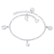 Dolphin Ladybug Star Sun Butterfly Charm Cable Chain .925 Sterling Silver Anklet - CLA-CHARM88-SLP