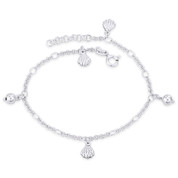 Clam Seashell & Ball Bead on Cable Chain Italy .925 Sterling Silver Charm Anklet - CLA-CHARM89-SLP