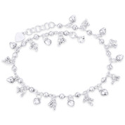 6x6mm Puffed Heart Charm 4mm Ball Bead Link Chain Anklet in .925 Sterling Silver - CLA-CHARM91-SLP