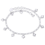 7x7mm Puffed Heart Charm & 3.5mm Figaro Link Chain Anklet in 925 Sterling Silver - CLA-CHARM93-SLP
