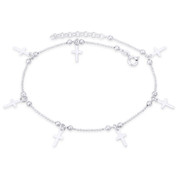 9x6mm Cross Charm on Ball & Faceted Bead Chain Italy .925 Sterling Silver Anklet - CLA-CHARM94-SLP