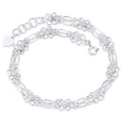 10mm 4-Petal Flower & Freeform Fancy Link Chain 925 Sterling Silver Charm Anklet - CLA-CHARM100-SLP