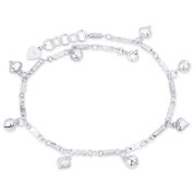 Puffed Hearts Ringing Balls & Fancy Link Chain .925 Sterling Silver Charm Anklet - CLA-CHARM101-SLP
