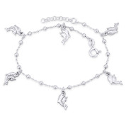 Mom & Baby Dolphin, Bead, & Cable Chain Italy .925 Sterling Silver Charm Anklet - CLA-CHARM103-SLP