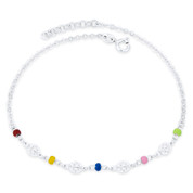 Ladybug Charm, Enamel Bead, & Flat Rolo Chain Italy .925 Sterling Silver Anklet - CLA-CHARM104-SLP
