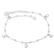 Heart Ladybug Ball Bead Anchor Link Chain Italy 925 Sterling Silver Charm Anklet - CLA-CHARM105-SLP