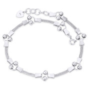 Double-Row Curb & Rings Link w/ 4mm Ball Bead .925 Sterling Silver Chain Anklet - CLA-FASH65-SLP