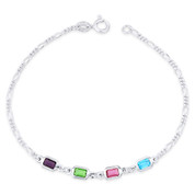 Purple Green Pink Blue CZ Crystal Figaro Italy Chain .925 Sterling Silver Anklet - CLA-FASH66-MultiCZ-SLP