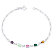 Purple Blue Pink Green Yellow CZ Crystal Figaro Chain 925 Sterling Silver Anklet - CLA-FASH67-MultiCZ-SLP