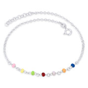 3mm Enamel Bead & 2.2mm Flat Rolo Chain Italy .925 Sterling Silver Charm Anklet - CLA-FASH69-SLP