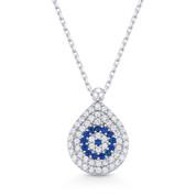 Evil Eye Tear-Drop CZ Pendant Turkish Greek Luck Charm Sterling Silver Necklace - EYESN73-SL