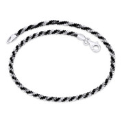 2.5mm (G050) Roc Link Italian Chain Anklet in 2-Tone .925 Sterling Silver w/ Black Rhodium - CLA-ROPE16-050-SLDP