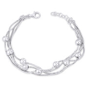 4-Strand 1mm Octagon Snake & 6mm Ball Bead Italian Chain Bracelet in .925 Sterling Silver - CLB-BEAD40-6MM-SLP
