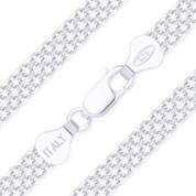 6mm 2-Row Bismark / Bizmark Link Italian Chain Bracelet in .925 Sterling Silver - CLB-BISM2-050_4F-SLP