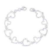 13x13mm Polished & 10x11mm Ribbed Heart Charm Link Italian Chain Bracelet in .925 Sterling Silver - CLB-CHARM55-SLP