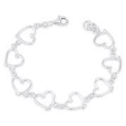 13x13mm Polished Abstract Heart Charm Link Italian Chain Bracelet in .925 Sterling Silver - CLB-CHARM56-SLP