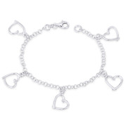 13x13mm Polished Abstract Heart & 3.5mm Cable Chain Italian Charm Bracelet in .925 Sterling Silver - CLB-CHARM60-SLP