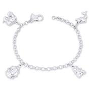 Elephant, Ladybug, Teddy Bear, Dolphin, & 4mm Rolo Chain Italian Charm Bracelet in .925 Sterling Silver - CLB-CHARM61-SLP