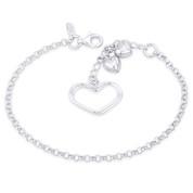 15x23mm Double Open-Heart, 8x8mm Puffed Heart, & 3mm Rolo Chain Italian Charm Bracelet in .925 Sterling Silver - CLB-CHARM76-SLP