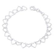 8x9mm Open Heart Link Charm Italian Chain Bracelet in .925 Sterling Silver - CLB-CHARM77-SLP