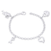 19x13mm Angel, 15x8mm Key, 13x13mm Heart, & 15x13mm Heart Lock on 4mm Rolo Chain Italian Charm Bracelet in .925 Sterling Silver - CLB-CHARM80-SLP