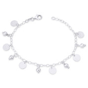 8mm Flat Circle Matte Discs & 5mm Ball Beads on 3mm Oval Link Chain Italian Charm Bracelet in .925 Sterling Silver - CLB-CHARM83-SLP