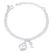 15x13mm Heart Padlock, 10x6mm Key, & 2.7mm Oval Cable Double Chain Italian Charm Bracelet in .925 Sterling Silver - CLB-CHARM85-SLP