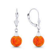 Fiery Orange & Red Synthetic Opal Leverback-Post Dangling Ball Earrings in 14k White Gold - BD-DE006-OP_Orange1-14W