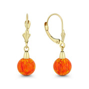 Fiery Orange & Red Synthetic Opal Leverback-Post Dangling Ball Earrings in 14k Yellow Gold - BD-DE006-OP_Orange1-14Y