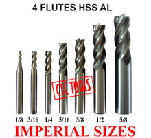 4 FLUTE HSS AL ENDMILL MILLING CUTTERS IMPERIAL INCH CNC