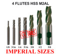 4 FLUTE HSS M2AL ENDMILL MILLING CUTTERS STAINLESS CENTER CUTTING CNC