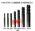 Center Cutting Tungsten Micrograin Carbide End Mills Endmill CNC Cutters In Sizes 3MM To 16MM