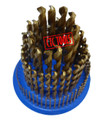 HSS CO COBALT M35 135 DEGREE SPLIT POINT METRIC DRILL BITS REVOLVING METRIC HOLDER STAND ORGANIZER