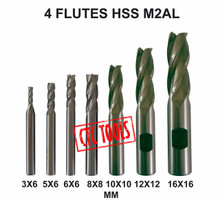4 FLUTE HSS M2AL ENDMILL MILLING CUTTERS stainless CNC