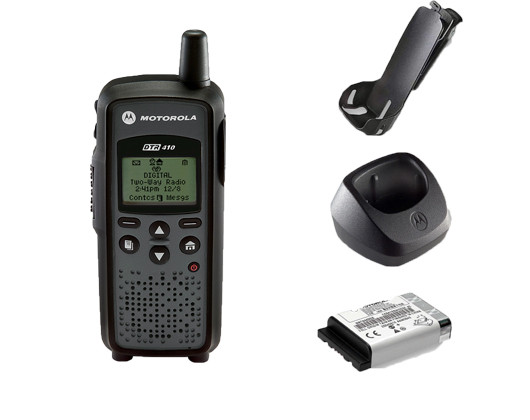Motorola DTR410 Digital Two Way Radio, Belt Clip, Charger, and Battery