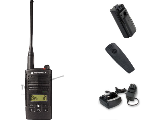 Motorola RDU4160d UHF Two Way Radio, Belt Clip, Charger, and Battery