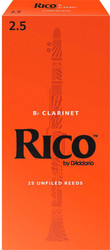 Rico Bb Clarinet Reeds 25-Pack #2.5 (2A2.5)