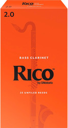 Rico Bass Clarinet Reeds 25-Pack #2.0 (4A2)