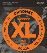 D'Addario ECG26 Chromes Flat Wound Electric Guitar Strings, Medium, 13-5