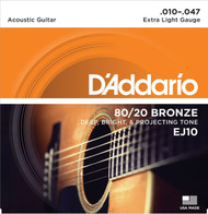 Set D'Addario 80/20 Bronze 10-47 Extra Light EJ10