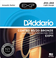 D'Addario Coated 80/20 Bronze Acoustic 12-53 Light (EXP11) Package Front
