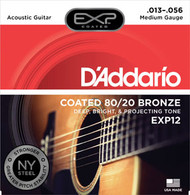 D'Addario Coated 80/20 Bronze Acoustic 13-56 Medium (EXP12) Packaging Front
