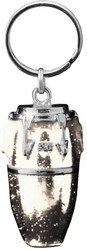 Harmony Jewelry Conga Drum Keychain Silver and White