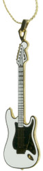 Harmony Jewelry Fender Stratocaster Electric Guitar Necklace White with Black Pickguard