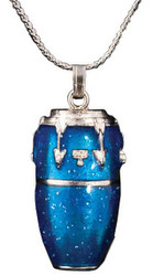 Harmony Jewelry Conga Drum Necklace Blue and Silver (FPN579SBU)