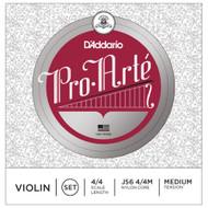 D'Addario J56 4/4M Pro-Arte Nylon violin Strings, Medium (J56 4/4M)